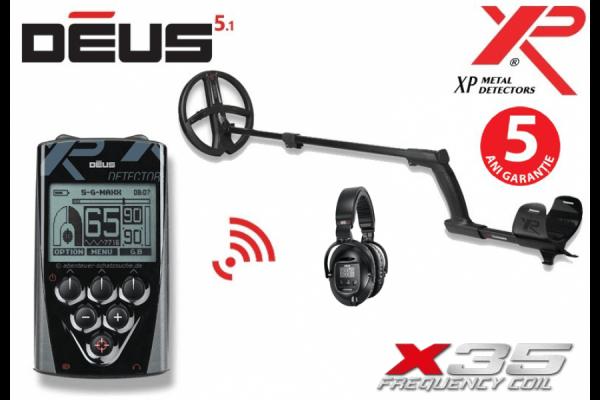 Detector de metale XP Deus v5.1 cu bobina X35 de 22,5 cm, telecomanda si casti WS5